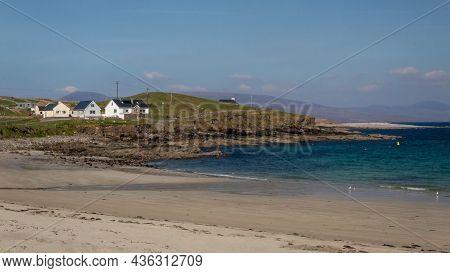 Houses By The Beach On Clare Island, Ireland