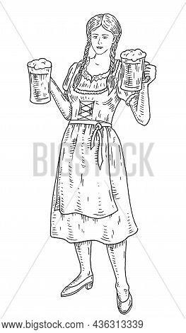 Woman Wearing A Traditional Bavarian Dress Holding Two Beer Mug. Vintage Engraving