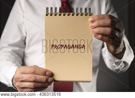 Propaganda Word. Manipulation And Brainwash By Government Concept.
