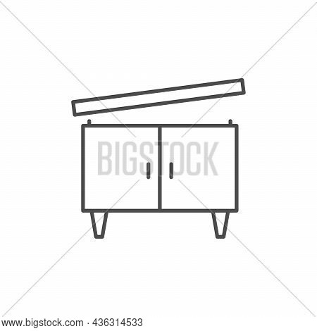 Furniture Assembling Line Outline Icon Isolated On White