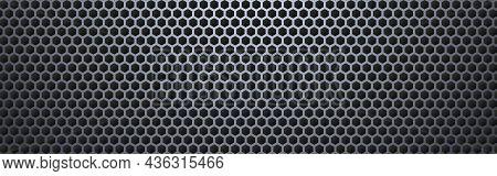 Metal Hexagon Wide. Steel Honeycomb Texture. Perforated Sheet With Light Effect. Modern Metal Mesh.