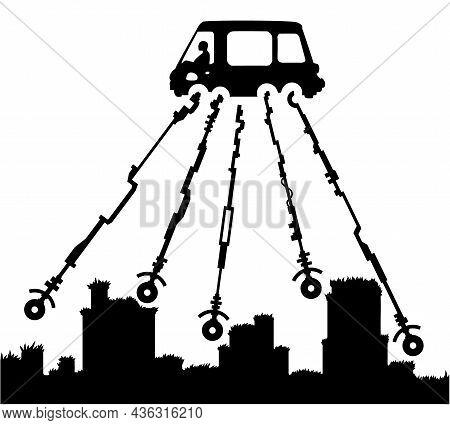 Car Driving Over Rough Terrain Using Extended Long Wheels Scene Silhouette Cartoon Black, Vector Ill