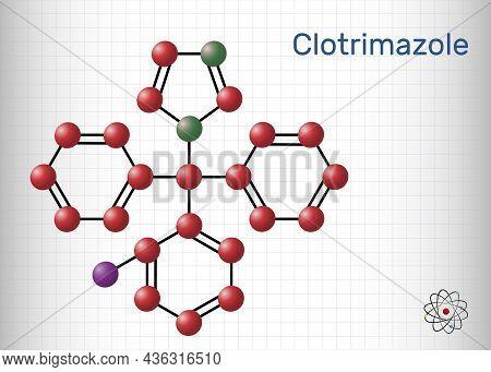 Clotrimazole Drug Molecule. It Is Imidazole Antimycotic, Antifungal Agent. Used In Treatment Of Skin