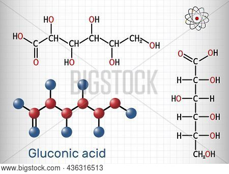 Gluconic Acid, C6h12o7 Molecule. It Is Pha, Polyhydroxy Acid. The Salt Are Known As Gluconate. Struc