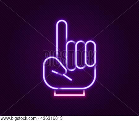 Glowing Neon Line Number 1 One Fan Hand Glove With Finger Raised Icon Isolated On Black Background.