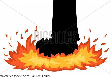 Foot Stomp Fire Cartoon Color Vector Illustration, Horizontal, Over White, Isolated