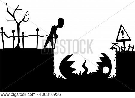 Pitfall Halloween Monster Scene Silhouette Cartoon Black, Vector Illustration, Horizontal, Over Whit