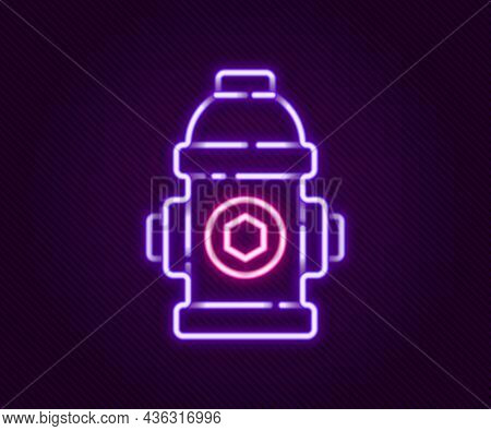 Glowing Neon Line Fire Hydrant Icon Isolated On Black Background. Colorful Outline Concept. Vector