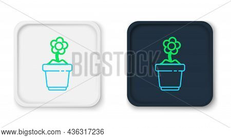 Line Flower In Pot Icon Isolated On White Background. Plant Growing In A Pot. Potted Plant Sign. Col