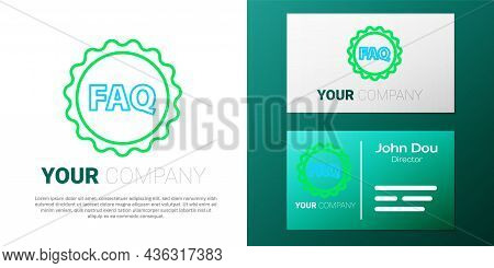 Line Label With Text Faq Information Icon Isolated On White Background. Circle Button With Text Faq.
