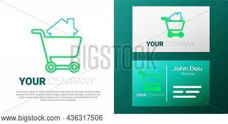 Line Shopping Cart With House Icon Isolated On White Background. Buy House Concept. Home Loan Concep