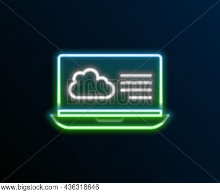 Glowing Neon Line Weather Forecast Icon Isolated On Black Background. Colorful Outline Concept. Vect