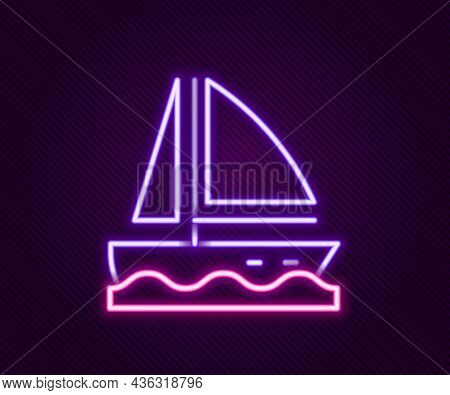 Glowing Neon Line Yacht Sailboat Or Sailing Ship Icon Isolated On Black Background. Sail Boat Marine