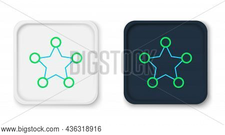 Line Hexagram Sheriff Icon Isolated On White Background. Police Badge Icon. Colorful Outline Concept