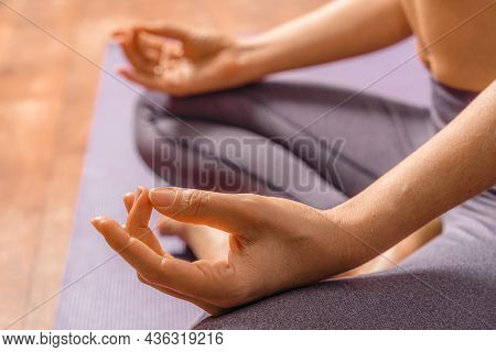 Young Woman Meditating In The Lotus Pose At Home. Practicing Yoga Indoors. Harmony, Yoga Practice, B