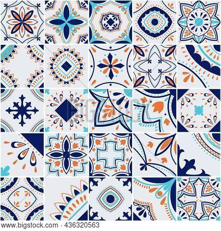 Lisbon Geometric Tile Vector Pattern, Portuguese Or Spanish Retro Old Tiles Mosaic, Mediterranean Se