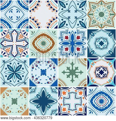 Traditional Ornate Portuguese Decorative Color Tiles Azulejos. Abstract Background. Vector Hand Draw