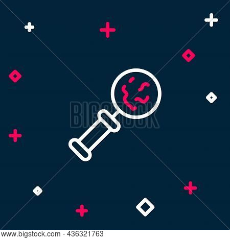 Line Microorganisms Under Magnifier Icon Isolated On Blue Background. Bacteria And Germs, Cell Cance