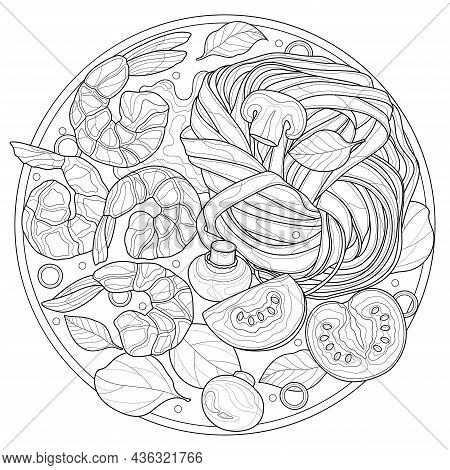 Pasta With Shrimp, Mushrooms And Basil.fettuccine.food.coloring Book Antistress Adults.