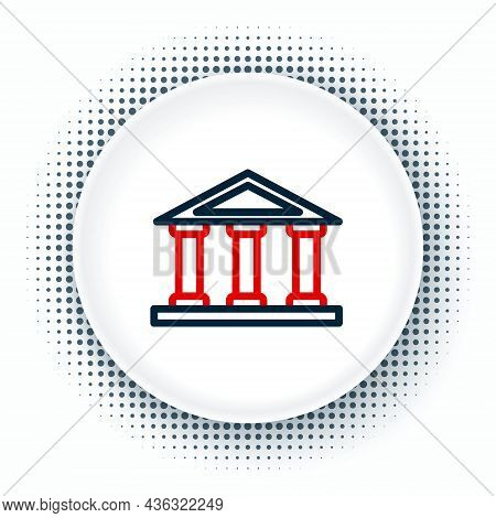 Line Courthouse Building Icon Isolated On White Background. Building Bank Or Museum. Colorful Outlin