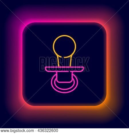 Glowing Neon Line Baby Dummy Pacifier Icon Isolated On Black Background. Toy Of A Child. Colorful Ou