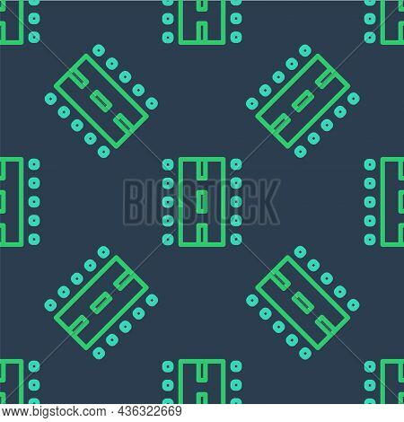 Line Airport Runway For Taking Off And Landing Aircrafts Icon Isolated Seamless Pattern On Blue Back