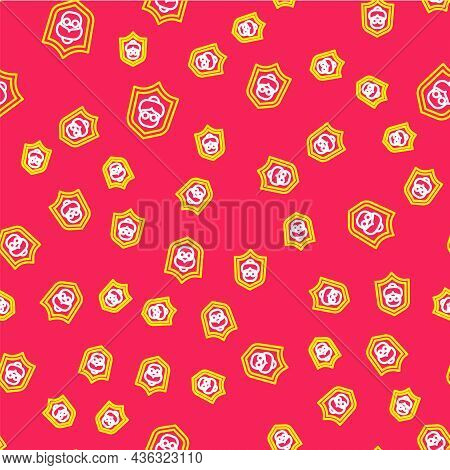 Line Grandmother Icon Isolated Seamless Pattern On Red Background. Vector