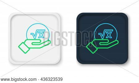 Line Square Root Of X Glyph Icon Isolated On White Background. Mathematical Expression. Colorful Out