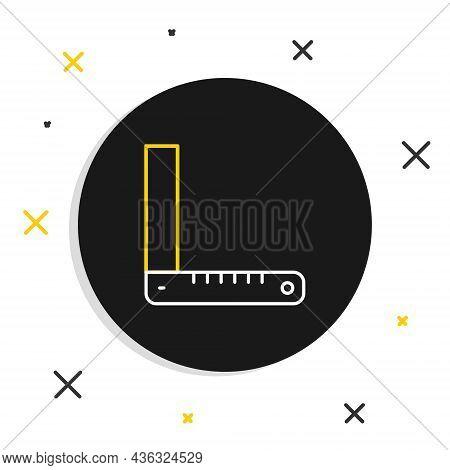 Line Corner Ruler Icon Isolated On White Background. Setsquare, Angle Ruler, Carpentry, Measuring Ut