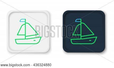 Line Yacht Sailboat Or Sailing Ship Icon Isolated On White Background. Sail Boat Marine Cruise Trave