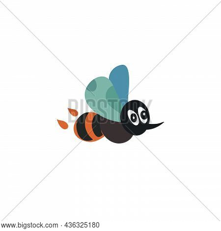 Flying Bee With Different Color Wings, Big Eyes And Sting. Cartoon Vector Illustration Isolated On W