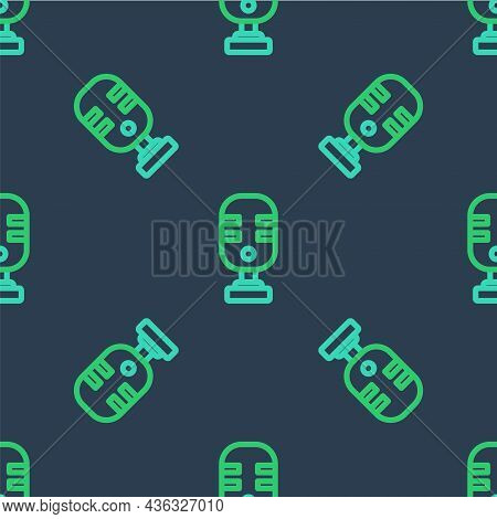 Line Microphone Icon Isolated Seamless Pattern On Blue Background. On Air Radio Mic Microphone. Spea