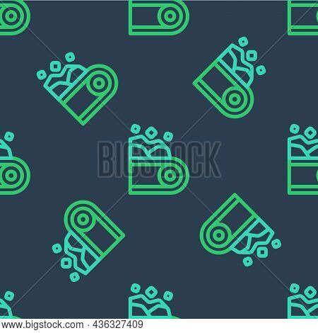 Line Conveyor Belt Carrying Coal Icon Isolated Seamless Pattern On Blue Background. Vector