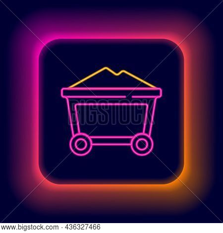 Glowing Neon Line Mine Coal Trolley Icon Isolated On Black Background. Colorful Outline Concept. Vec