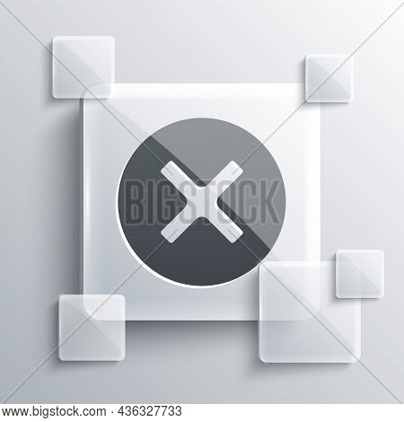 Grey X Mark, Cross In Circle Icon Isolated On Grey Background. Check Cross Mark Icon. Square Glass P