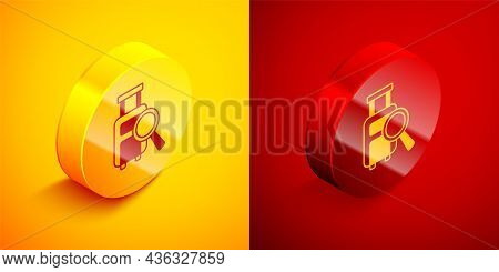 Isometric Airline Service Of Finding Lost Baggage Icon Isolated On Orange And Red Background. Search
