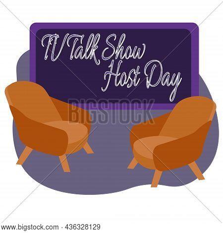 Tv Talk Show Host Day, Idea For Poster, Banner, Flyer Or Postcard Vector Illustration