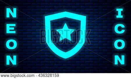 Glowing Neon Police Badge Icon Isolated On Brick Wall Background. Sheriff Badge Sign. Vector