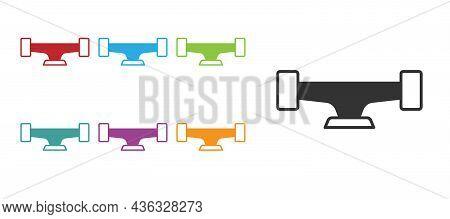 Black Skateboard Wheel Icon Isolated On White Background. Skateboard Suspension. Skate Wheel. Set Ic