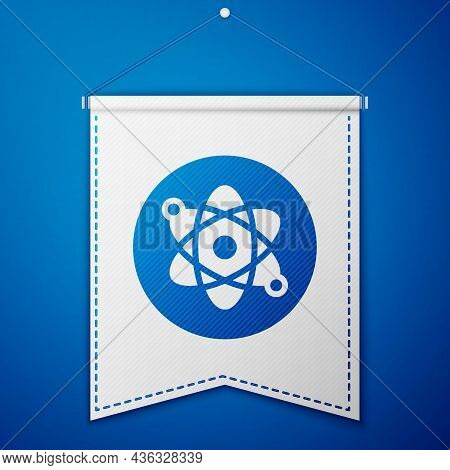Blue Atom Icon Isolated On Blue Background. Symbol Of Science, Education, Nuclear Physics, Scientifi