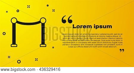 Black Rope Barrier Icon Isolated On Yellow Background. Vip Event, Luxury Celebration. Celebrity Part