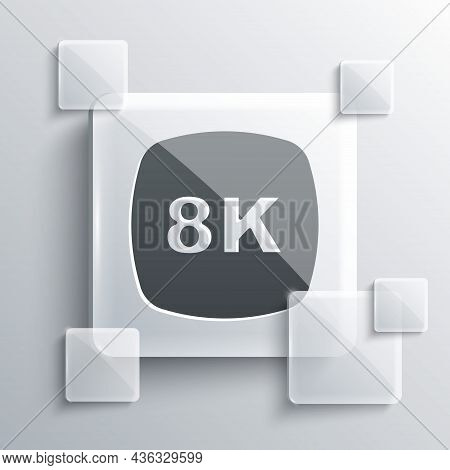 Grey 8k Ultra Hd Icon Isolated On Grey Background. Square Glass Panels. Vector