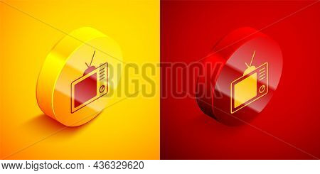 Isometric Retro Tv Icon Isolated On Orange And Red Background. Television Sign. Circle Button. Vecto