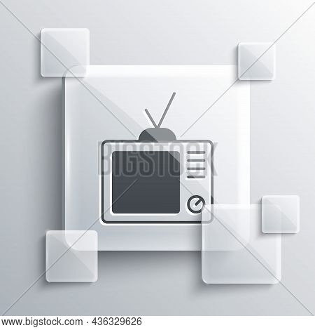 Grey Retro Tv Icon Isolated On Grey Background. Television Sign. Square Glass Panels. Vector