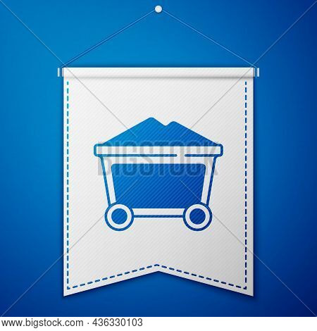 Blue Mine Coal Trolley Icon Isolated On Blue Background. White Pennant Template. Vector