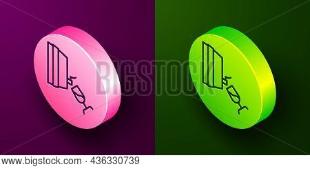 Isometric Line Wine Tasting, Degustation Icon Isolated On Purple And Green Background. Wooden Barrel