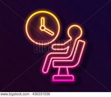 Glowing Neon Line Human Waiting In Airport Terminal Icon Isolated On Black Background. Vector