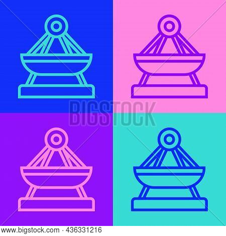 Pop Art Line Boat Swing Icon Isolated On Color Background. Childrens Entertainment Playground. Attra