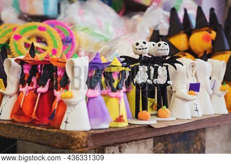 Halloween Sugar Figurines With Skeletons, Witches And Pumpkins Used For Offerings At The Altar For '
