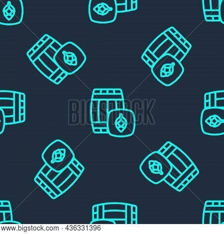 Green Line Wooden Barrel Icon Isolated Seamless Pattern On Blue Background. Alcohol Barrel, Drink Co